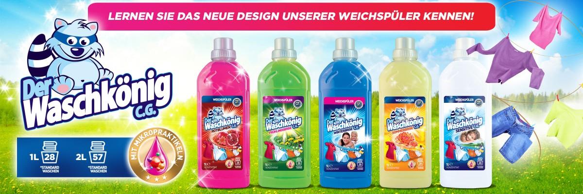 Neues Design für Weichspüler Der Waschkönig C.G.!
