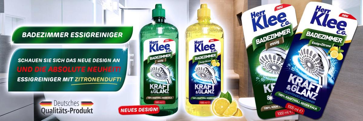 Neuheit! Essigreiniger für Badezimmer Herr Klee C.G. mit Zitronenduft!
