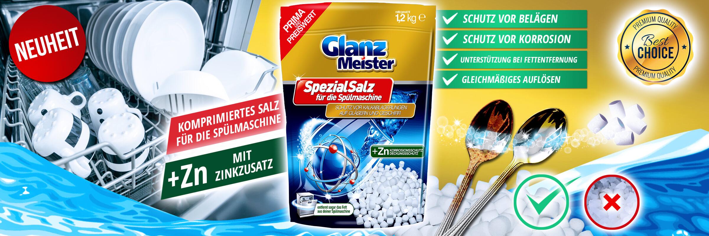 Komprimiertes Salz für die Spülmaschine GlanzMeister