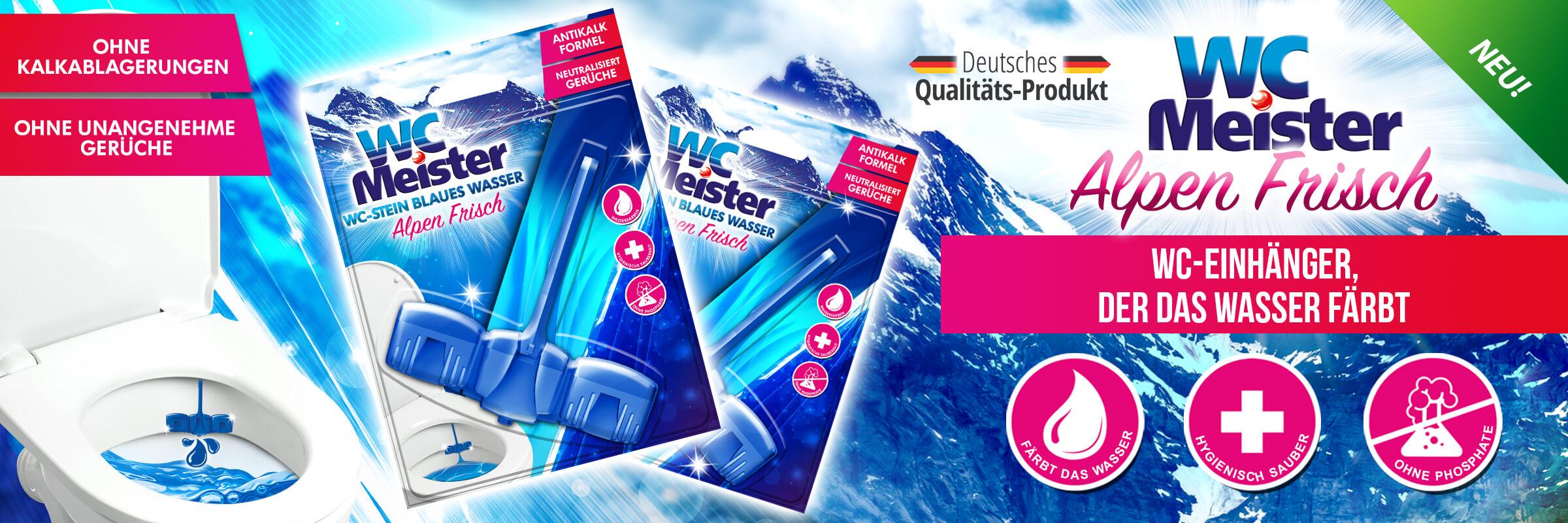 WC Meister Alpen Frisch - ein WC-Einhänger, der das Wasser blau färbt